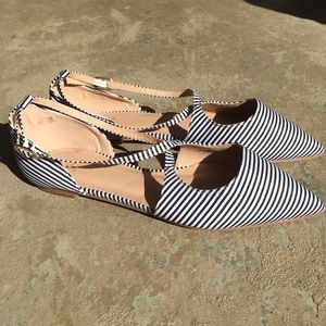 JG Striped Nautical Pointed Toe Flat Shoes.   8